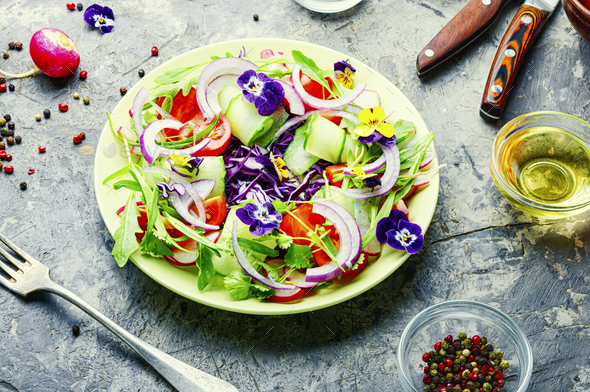 Salad with vegetables and herbs - Stock Photo - Images