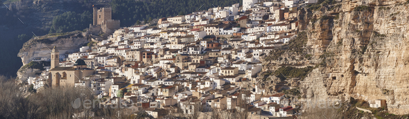 Spanish panoramic white village on the mountain. Alcala Jucar. Spain - Stock Photo - Images