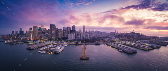 Aerial View of San Francisco Skyline with City Lights - Stock Photo - Images