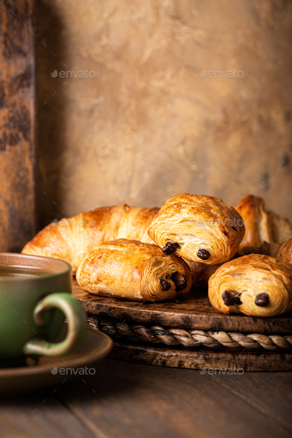 Freshly baked sweet buns puff pastry - Stock Photo - Images