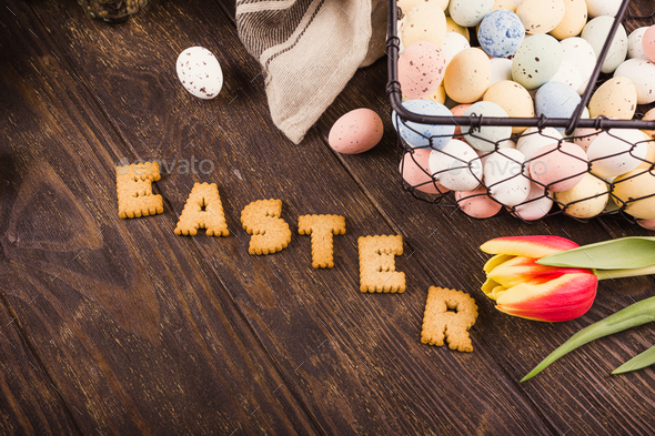 Happy Easter background, Lettering from cookies, - Stock Photo - Images