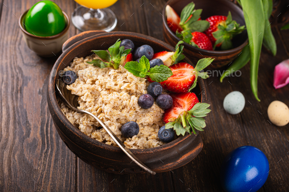 Homemade oatmeal granola with berries - Stock Photo - Images