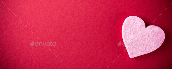 Pink heart over red. Valentines day concept - Stock Photo - Images