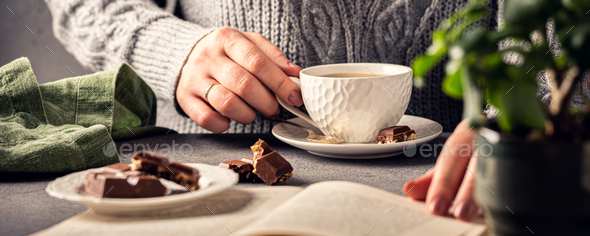 Coffee break composition with cup - Stock Photo - Images