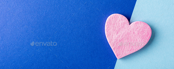 Pink heart over blue. Valentines day concept - Stock Photo - Images