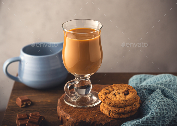 Coffee break composition with glass - Stock Photo - Images