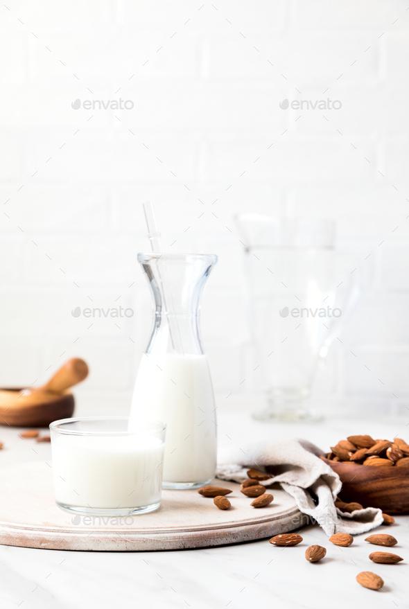 Almond milk.Drink for vegetarians.Dairy free milk substitute beverage. - Stock Photo - Images