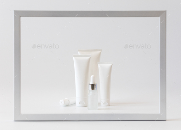 Cosmetics packaging .Plastic cosmetic of cream.Natural beauty spa product concept.Mock-up. - Stock Photo - Images