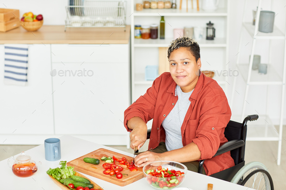 Woman preparing salad - Stock Photo - Images