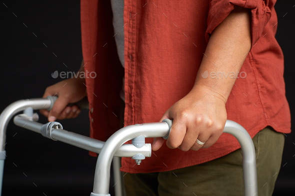 Woman with walker - Stock Photo - Images
