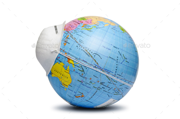 World globe wearing a protective face mask - Stock Photo - Images