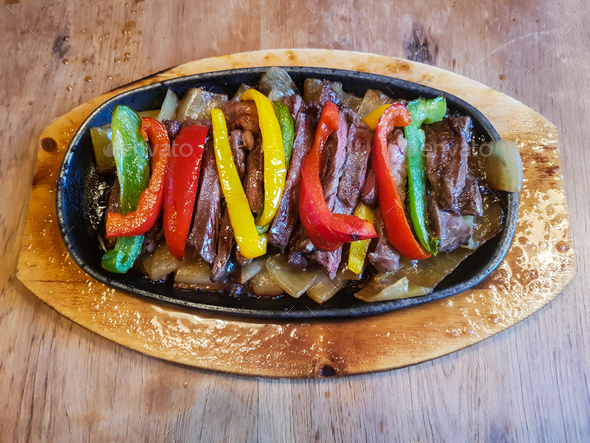 Traditional delicious Mexican beef fajitas freshly served - Stock Photo - Images