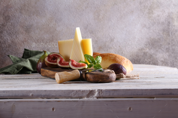 Cheese Plate with Figs - Stock Photo - Images
