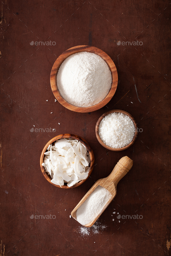 coconut flour and flakes healthy ingredient for keto paleo diet - Stock Photo - Images