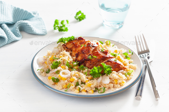 roasted bbq chicken with couscous sweetcorn onion, healthy lunch - Stock Photo - Images