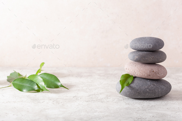 spa stones massage relax treatment - Stock Photo - Images