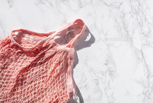 reusable mesh cotton shopping bag, plastic free zero waste concept - Stock Photo - Images