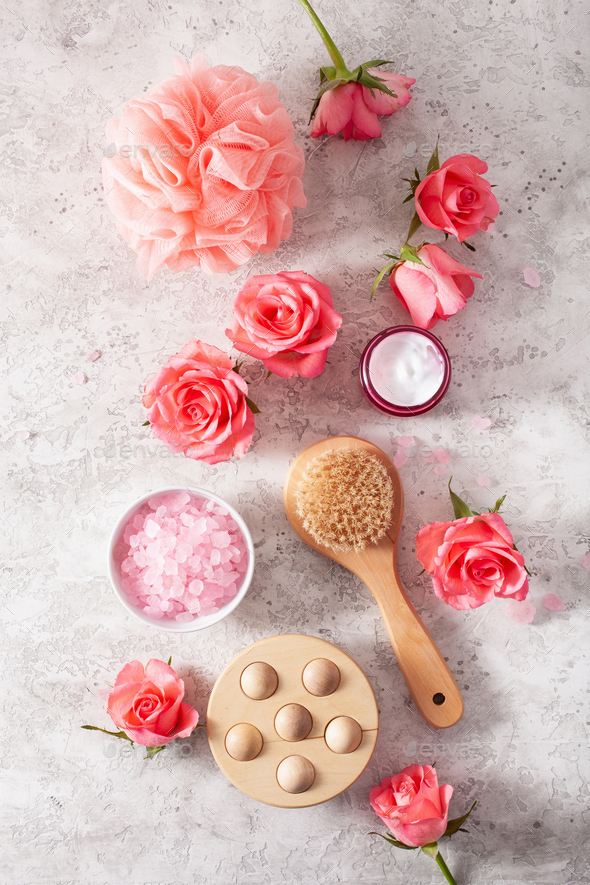 skincare products and rose flowers. natural cosmetics for home spa treatment - Stock Photo - Images