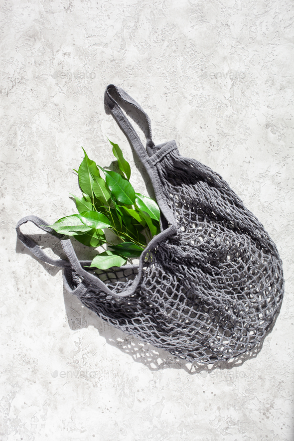 reusable mesh cotton shopping bag, plastic free zero waste concept - Stock Photo - Images