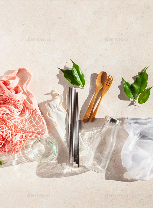 zero waste eco friendly concept. reusable cotton bag, stainless steel drinking staw, glass jar - Stock Photo - Images