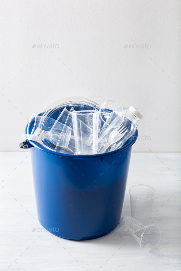 clean recyclable plastic bottles, containers, cups in garbage bin. waste management plastic reuse - Stock Photo - Images