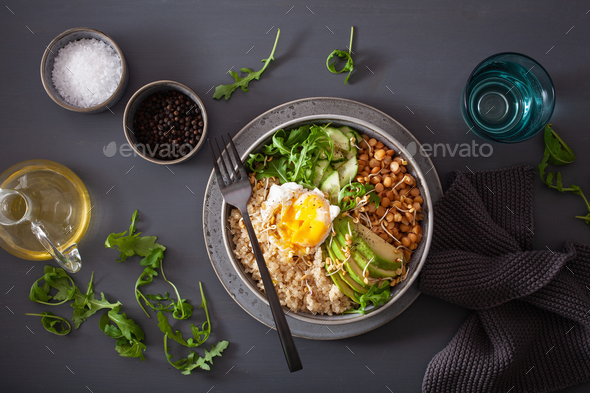 quinoa bowl with egg, avocado, cucumber, lentil. Healthy vegetarian lunch - Stock Photo - Images