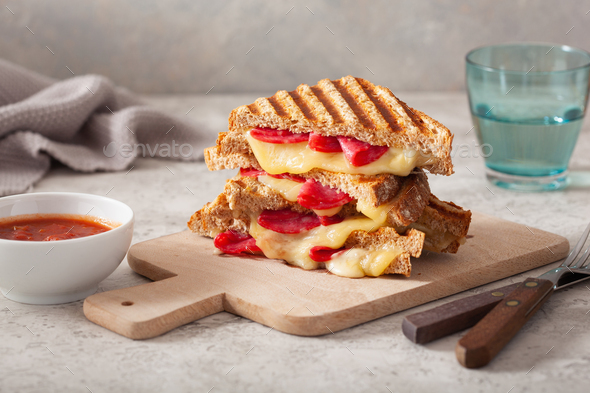 grilled salami and cheese sandwich - Stock Photo - Images