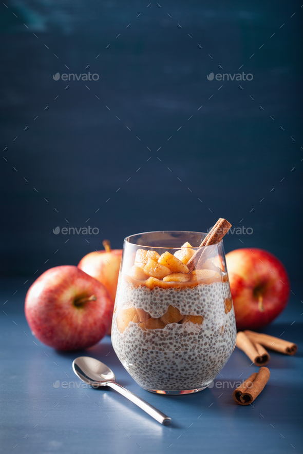 chia pudding with cinnamon simmered apples and peanut butter - Stock Photo - Images
