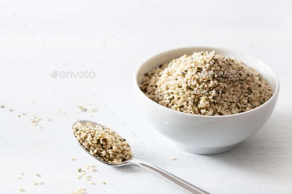 hulled hemp seeds, healthy superfood supplement - Stock Photo - Images