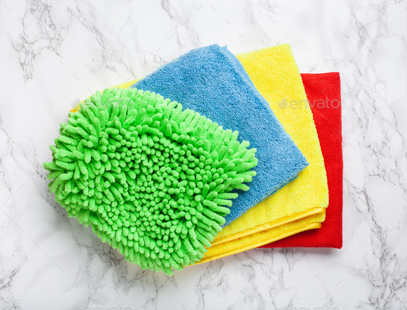 cleaning household colorful microfiber cloth - Stock Photo - Images