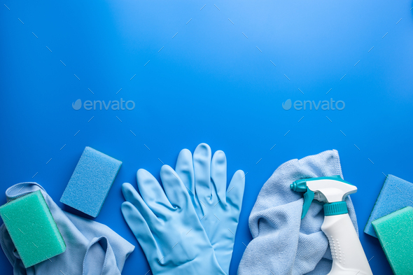 cleaning products household chemicals spray brush sponge glove - Stock Photo - Images