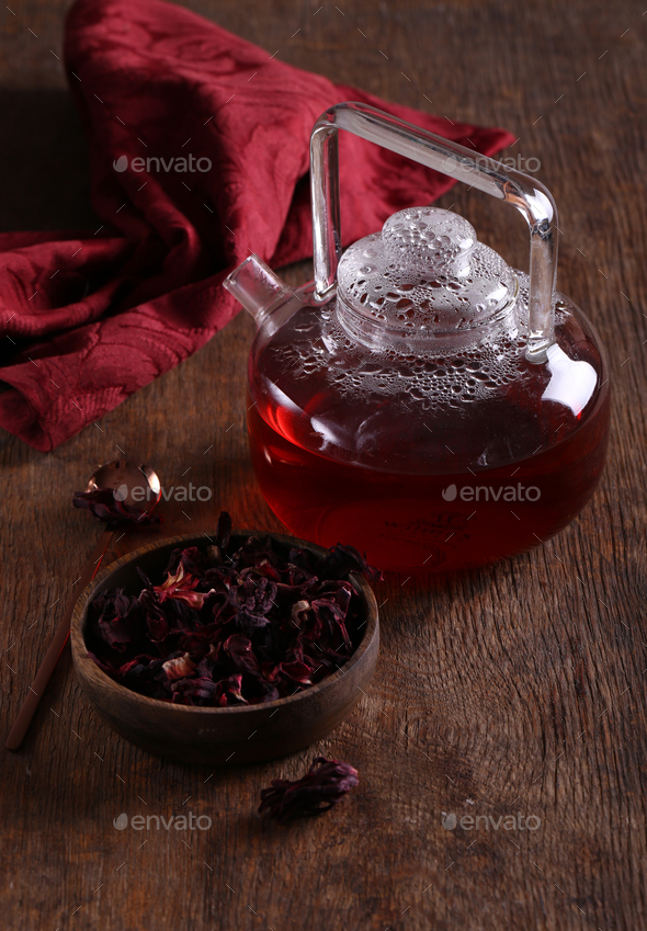 Hibiscus Red Flower Tea - Stock Photo - Images