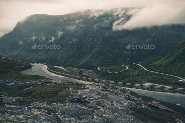 Mountains Of Norway With Scenic Highway Near Peaks. - Stock Photo - Images