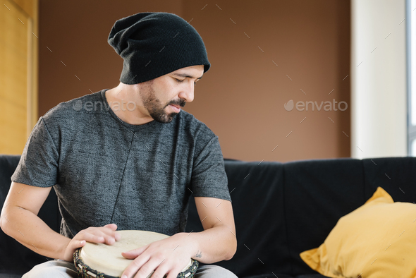 Musician Playing Drums. - Stock Photo - Images