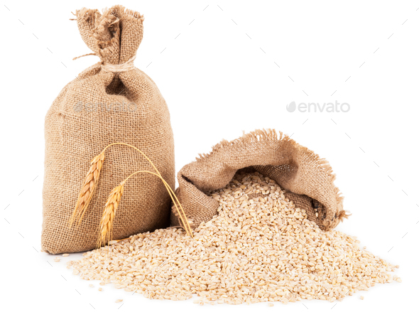 Bags with pearl barley - Stock Photo - Images