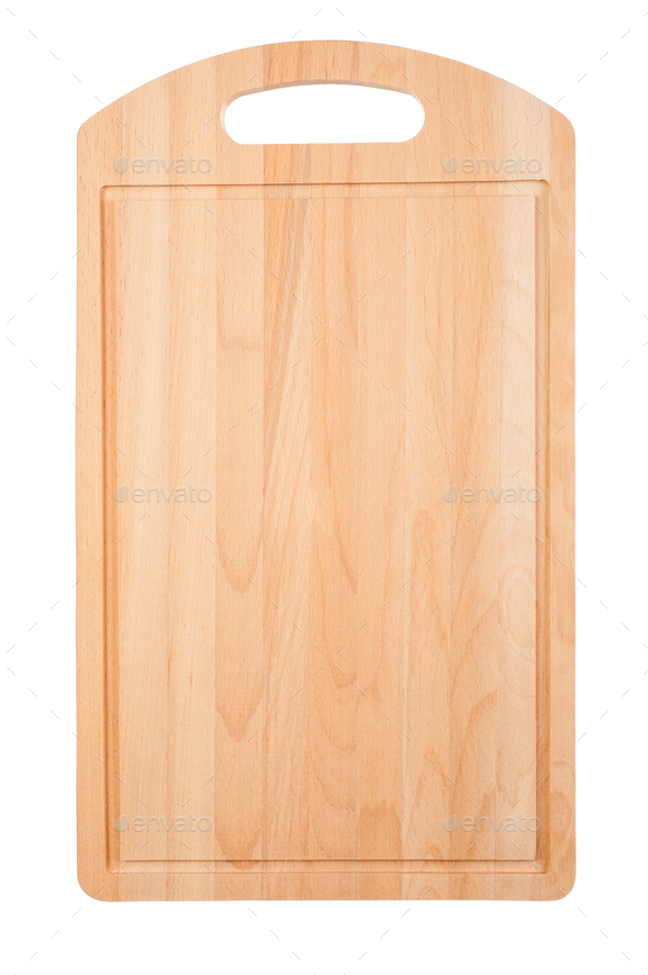 Wooden cutting kitchen board on white - Stock Photo - Images