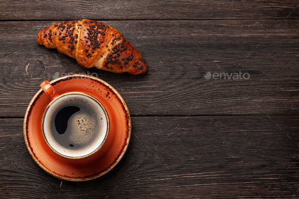 Coffee and croissant - Stock Photo - Images
