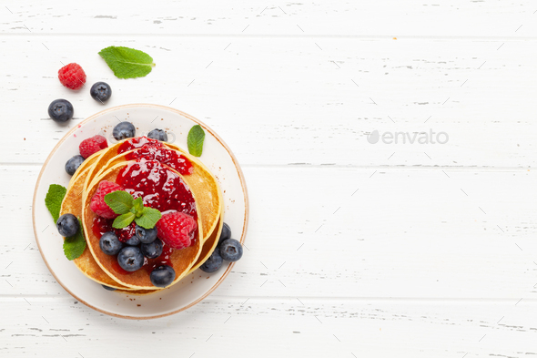 Delicious homemade pancakes with summer berries - Stock Photo - Images