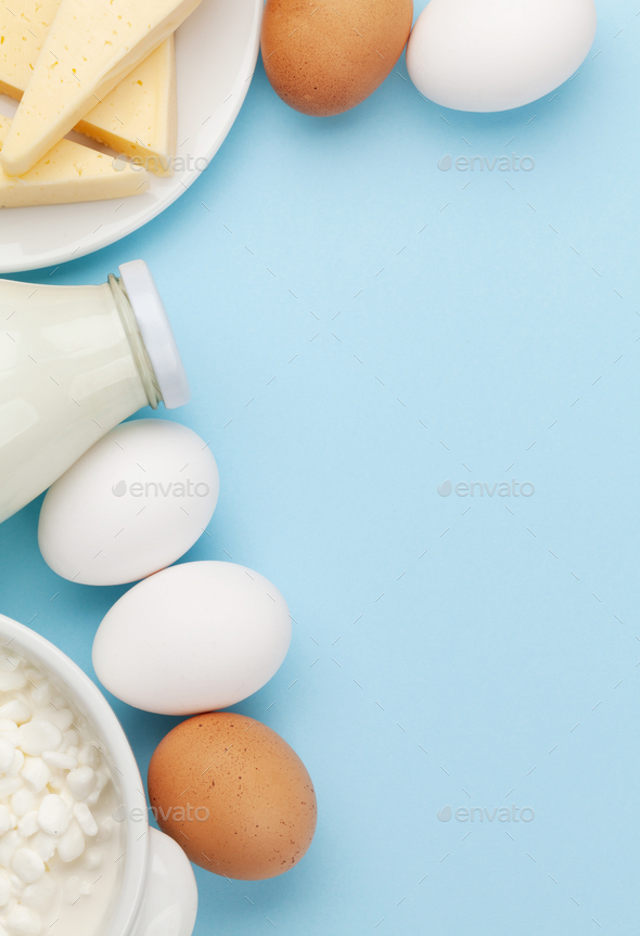 Dairy products, milk, cottage, cheese and eggs - Stock Photo - Images