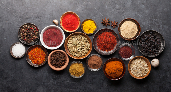 Various spices in bowls - Stock Photo - Images