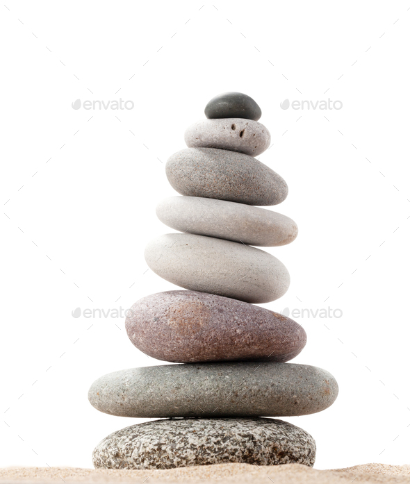 Pyramid of sea pebbles - Stock Photo - Images