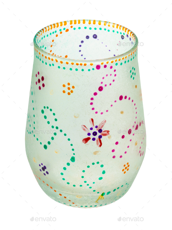 hand painted glass cup isolated on white - Stock Photo - Images