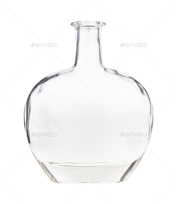 empty clear cognac bottle isolated on white - Stock Photo - Images