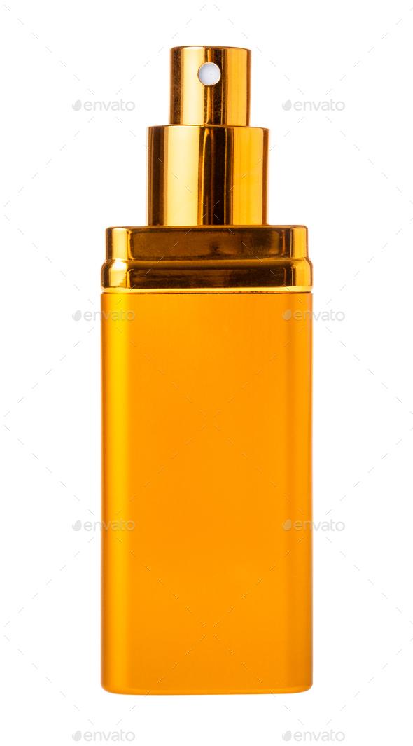 perfume spray metallic flacon isolated on white - Stock Photo - Images
