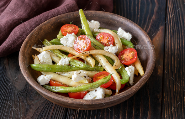Green and yellow beans salad - Stock Photo - Images