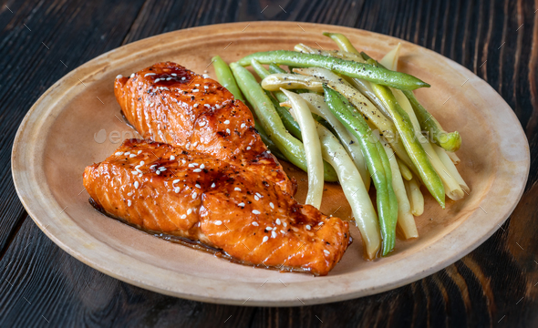 Teriyaki salmon with beans - Stock Photo - Images