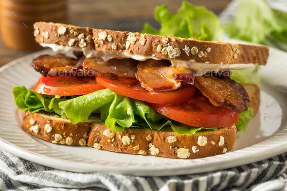 Homemade Bacon Lettuce Tomato BLT Sandwich - Stock Photo - Images