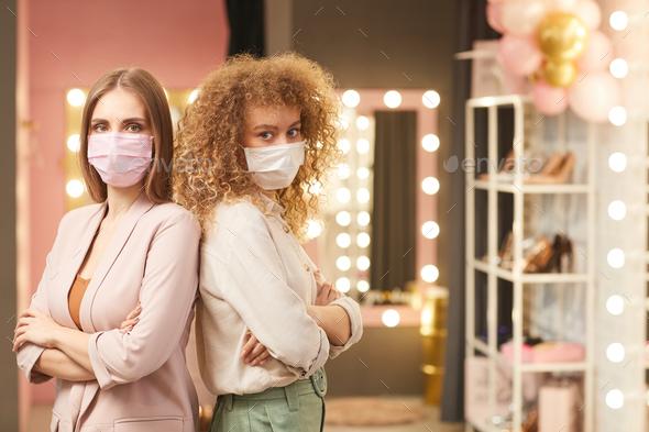 Two Beautiful Women Wearing Face Masks - Stock Photo - Images