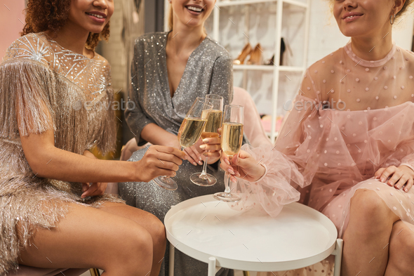 Group of Glamorous Young Women Drinking Champagne Close Up - Stock Photo - Images