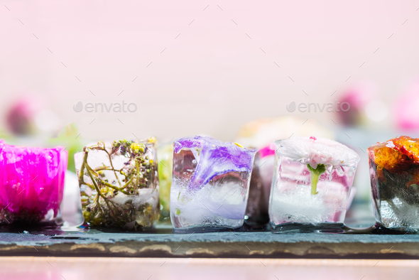 Frozen Flowers in Ice Cubes - Stock Photo - Images